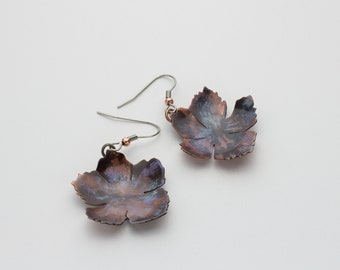 Handcrafted Flower Patina Copper Dangle Earrings
