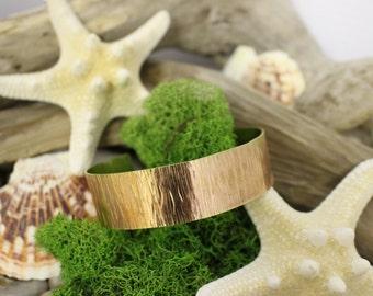 Hand Forged Hammered Textured Brass Cuff Bracelet