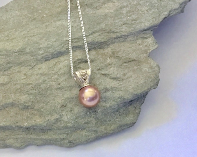 Filigree Sterling Silver Drop with Rose Gold Swarovski Pearl Pendant Necklace