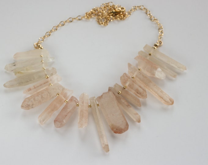 Natural Orange Crystal Point Gemstone & Gold Filled Cable Chain Necklace