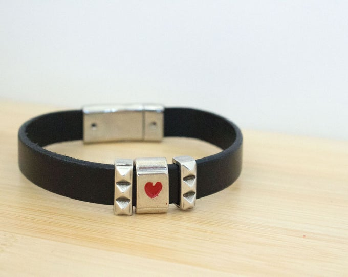 Silver Heart Slider Black Leather Bracelet