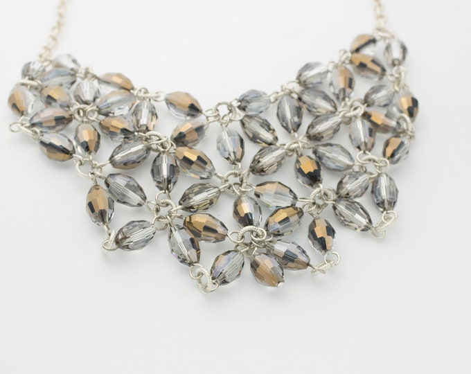 Sterling Silver Preciosa Crystal Bib Necklace