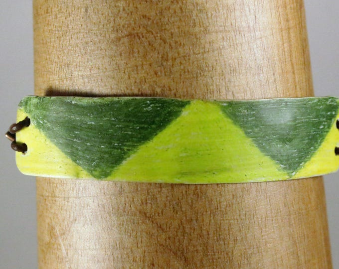 Green Prism Crayon Coloured Copper & Leather Lace Bracelet