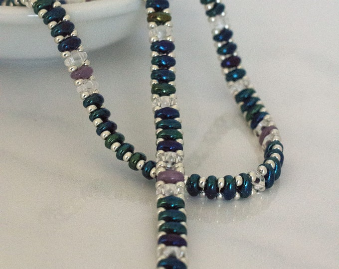 Blue & Ivory Super-Duo Bead  Wrap Bracelet