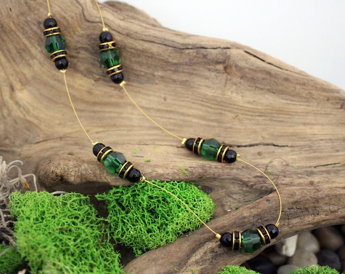 Dark Moss Green Swarovski Crystal Bead Suspension Necklace
