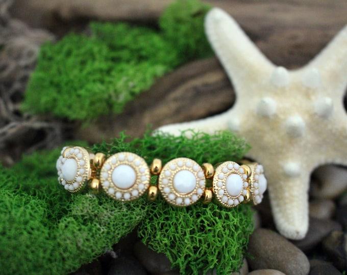White & Gold Bead Stretch Bracelet
