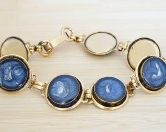 Blue Painted & Resin Link Antique Gold Bracelet