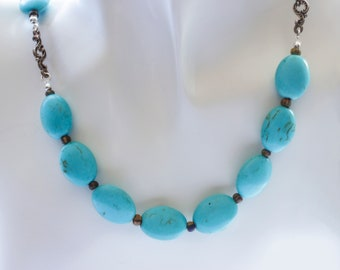 Oval Turquoise Gemstone Bead & Connector Single Strand Necklace