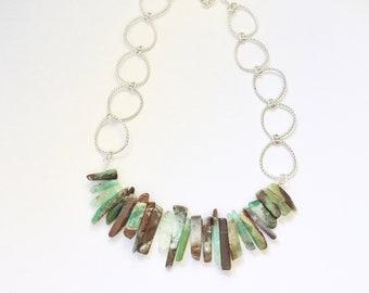 Chrysoprase Stick Semi-Precious Bead & Sterling Silver Rolo Chain Bib Necklace