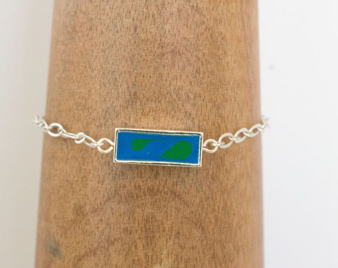 Blue Prism Fantasy Paint Filled Bezel & Silver Chain Bracelet, Gift Idea