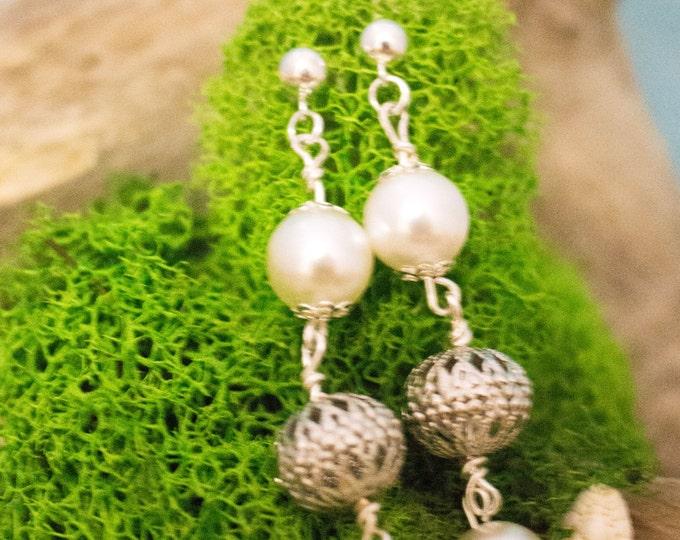 Filigree Bead, Pearl & Silver Dangle Earrings