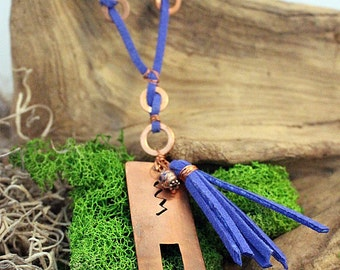 Rustic Hand Forged Copper & Blue Suede Pendant Necklace