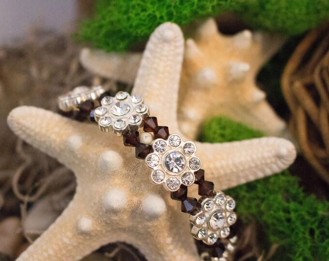 Mocha Swarovski Crystal and Silver Rhinestone Bead Bracelet