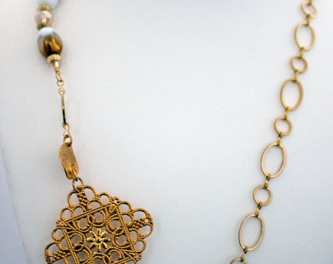 Gold Lampwork Bead & Filigree Statement Necklace