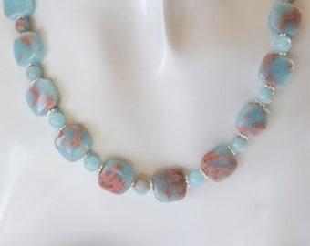 Blue Impression Jasper Gemstone & Sterling Silver Bead Necklace