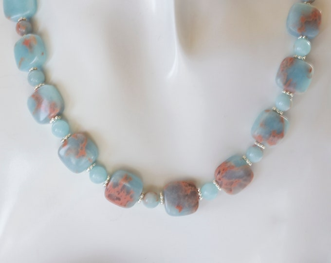 Blue Impression Jasper Gemstone & Sterling Silver Bead Necklace