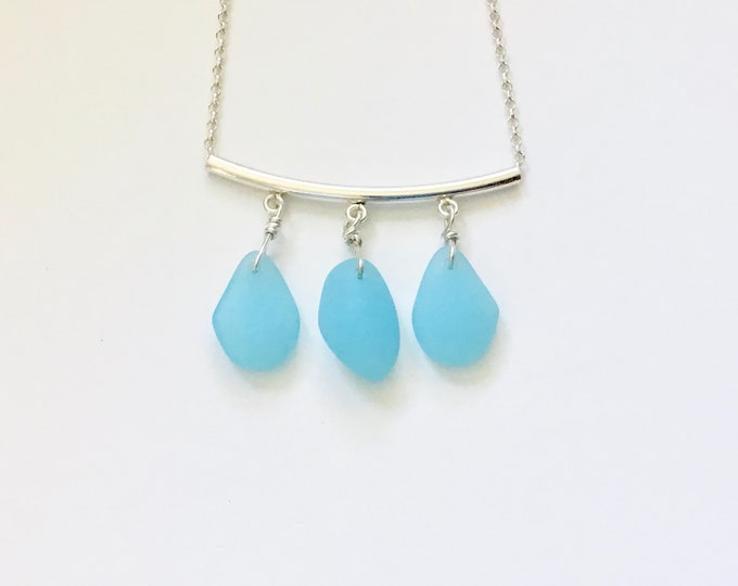 Opal Blue Recycled Glass &  Sterling Silver Chain Necklace