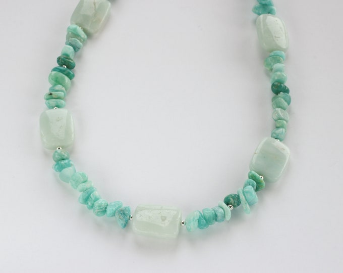Blue Amazonite Bead & Russian Chip Gemstone Pendant Necklace