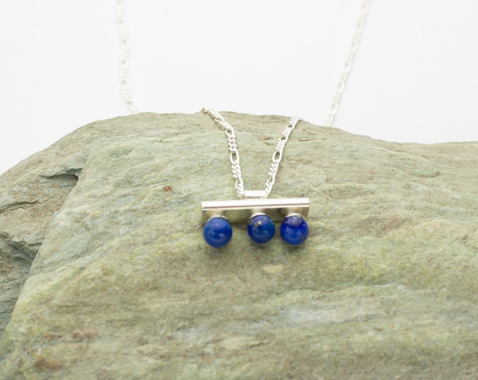 Lapis Gemstone Pendant Sterling Silver Necklace
