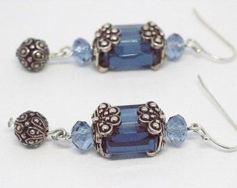 Blue Swarovski Crystal & Antique Silver Drop Earrings