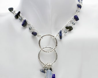 Sterling Silver with Blue Bead Necklace