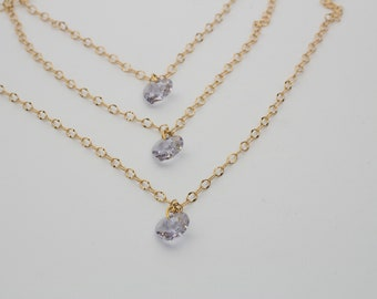 Swarovski Crystal Violet Heart Pendant and Gold Chain Necklace