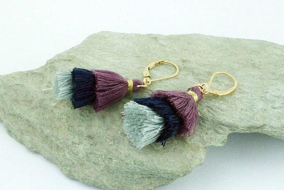 Twilight Shades 3 Tier Tassel Earrings - Statement Dangle - Gold Filled - Gift Idea