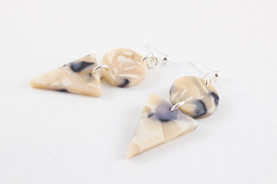 Black Pearl Acetate Sterling Silver Drop Earrings - Statement Round Triangle Dangle - Black Beige White Swirl - Gift For Her