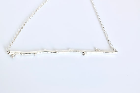 Sterling Silver Branch Pendant Necklace