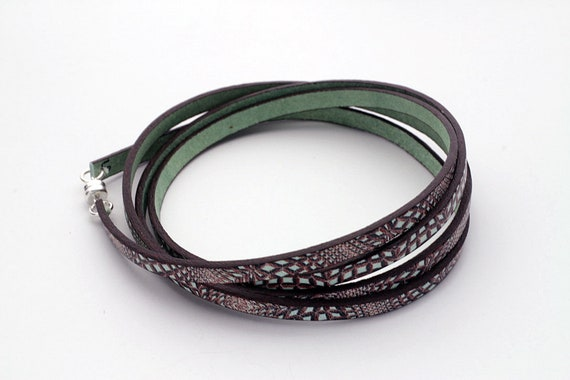 Leather Green & Brown Euro Printed Wrap Bracelet For Her
