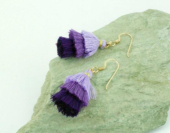 Purple Shade 3 Tier Tassel Earrings - Statement Dangle - Gold Filled - Gift Idea