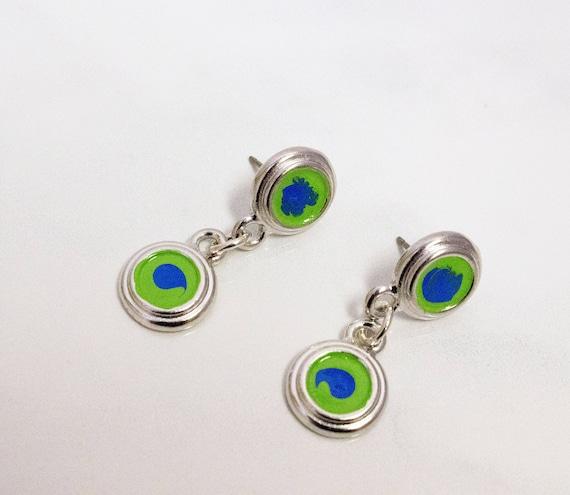 Green & Blue Hand Painted Silver Bezel Drop Earrings