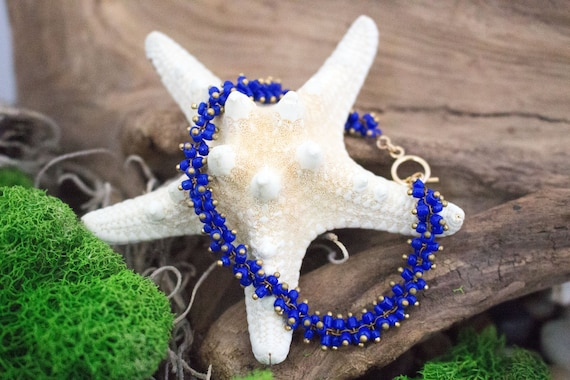 Cobalt Blue Bead Bracelet, Simple Modern Everyday Bracelet