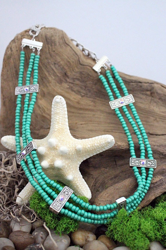 Green Seed Bead & Silver Spacer Bib Necklace