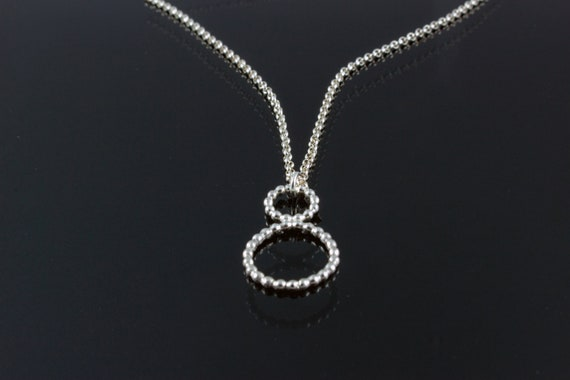 Beaded Wire Double Circle Pendant Necklace