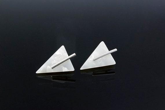 White Acetate Sterling Silver Stud Earrings