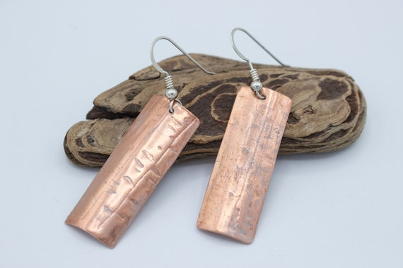 Texture Embossed Light Grey Patina Copper Earrings