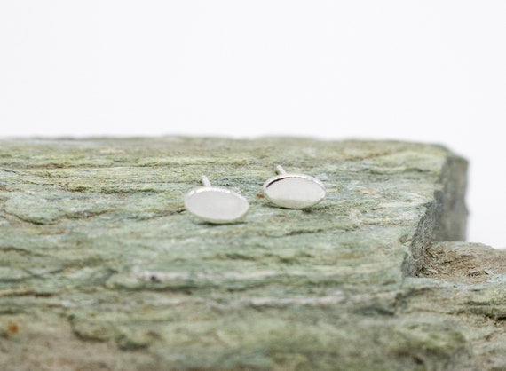 Minimal Sterling Silver Tiny Oval Stud Earrings