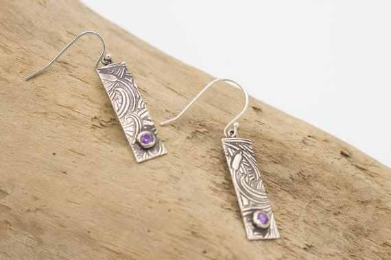 Silver Textured Rectangle Earrings with Purple CZ