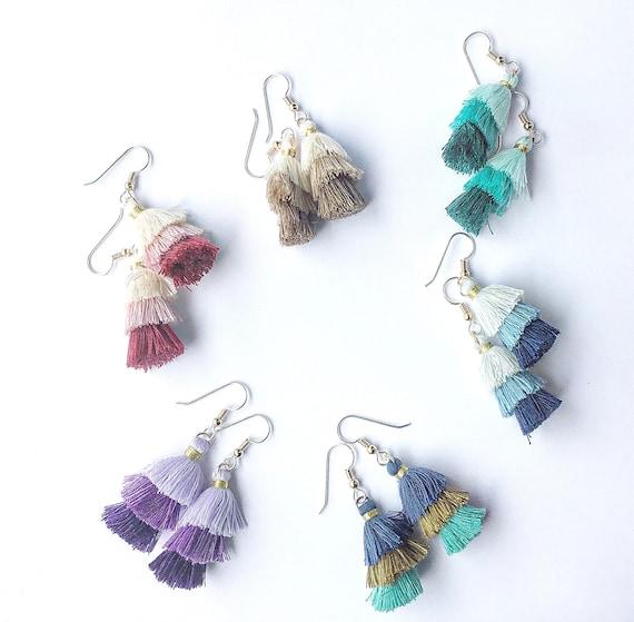 3 Tier Tassel Earrings