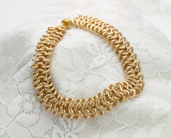Gold Chainmaille Minimal Bracelet