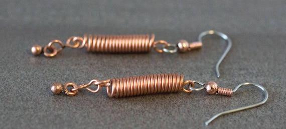 Copper Twist Drop Earring
