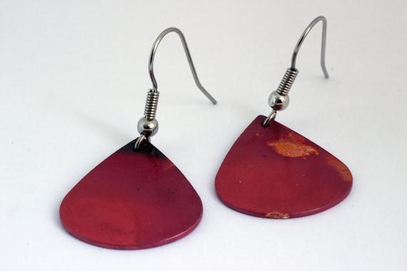 Teardrop Borax & Heat Patina Copper Dangle Earrings