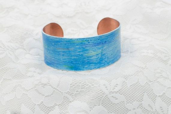 Blue Crayon Copper Cuff