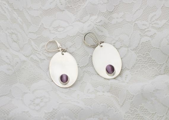Purple Tiger Eye & Sterling Silver Drop Earrings