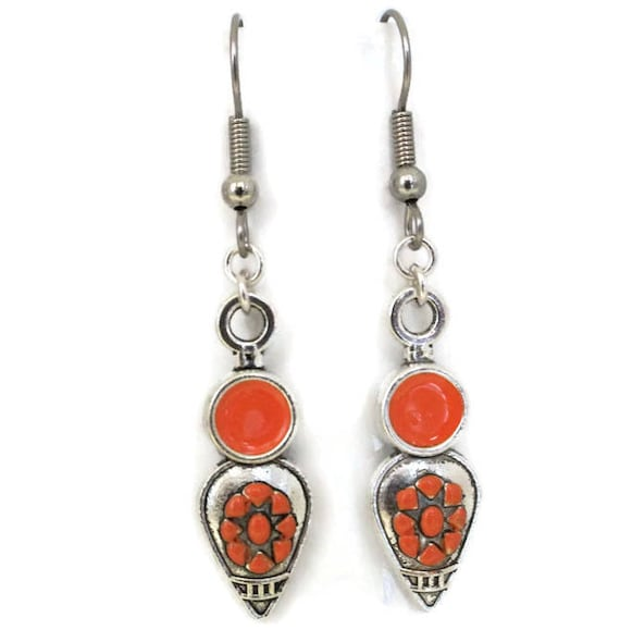 Orange & Silver Painted Southwestern Earrings