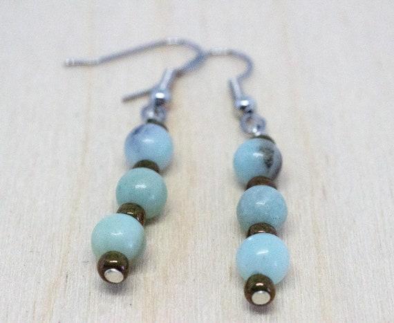 Amazonite Gemstone Blue Drop Earrings