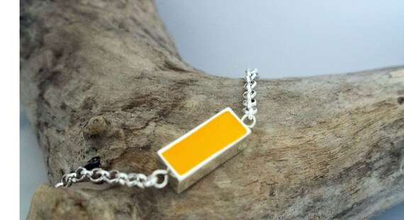 Yellow Hand Painted Rectangle Bezel & Chain Bracelet