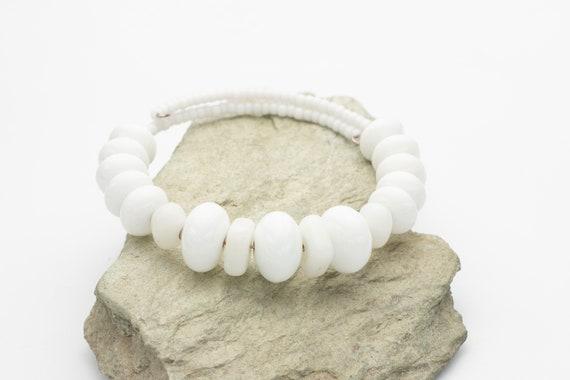 White Czech Glass Bead Wrap Bracelet
