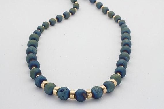 Metallic Water Luster Druzy & Gold Bead Necklace